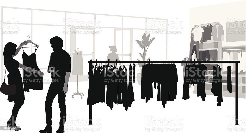 Her Shopping Vector Silhouette vector art illustration