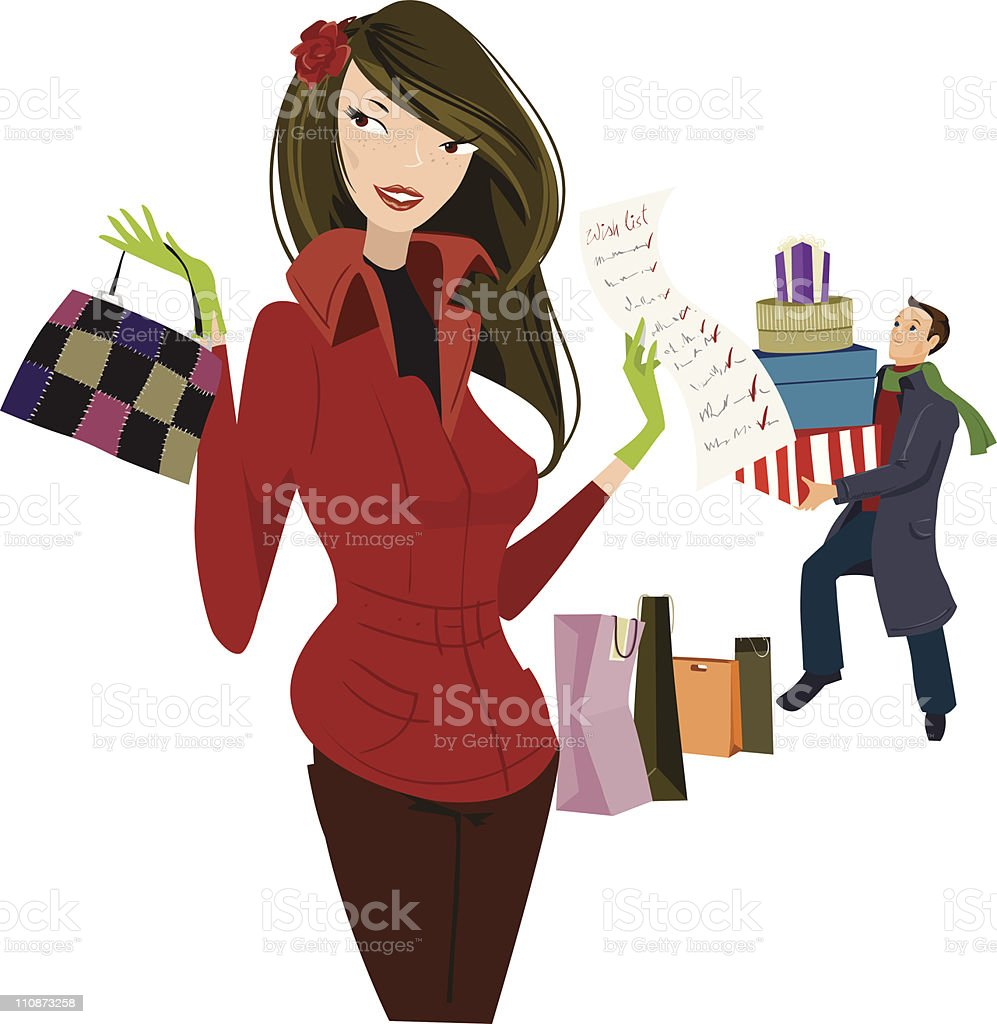 Her wish list royalty-free stock vector art