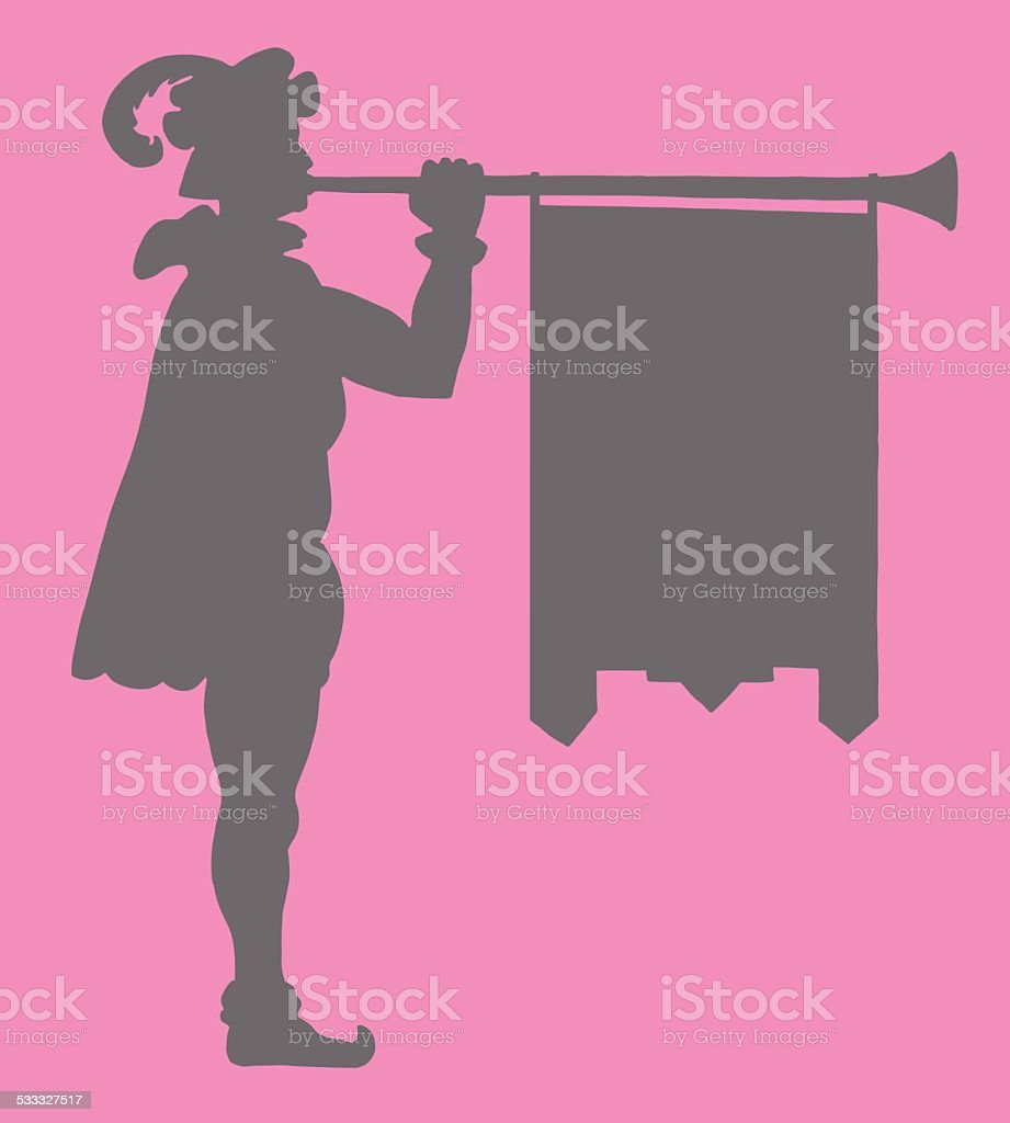 Herald With Horn Silhouette vector art illustration
