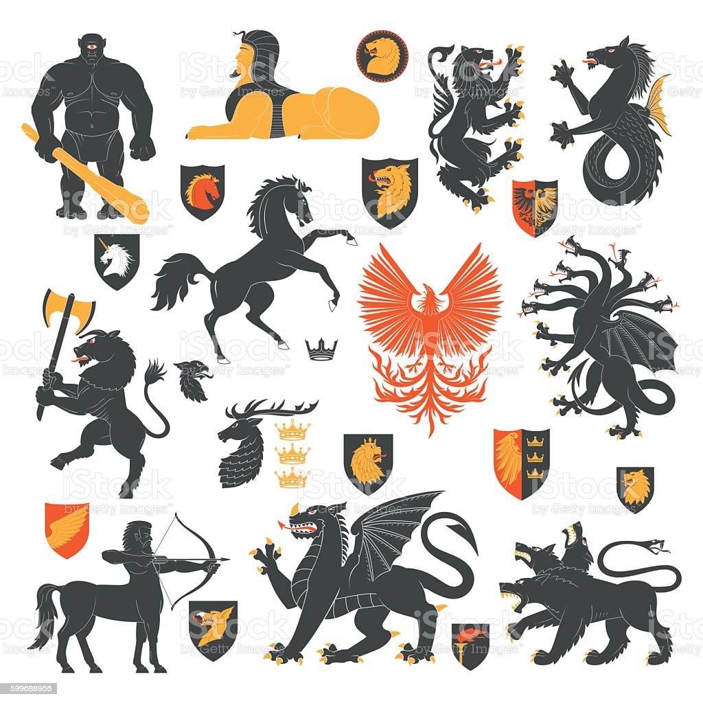 Heraldic Animals And Elements 2 vector art illustration