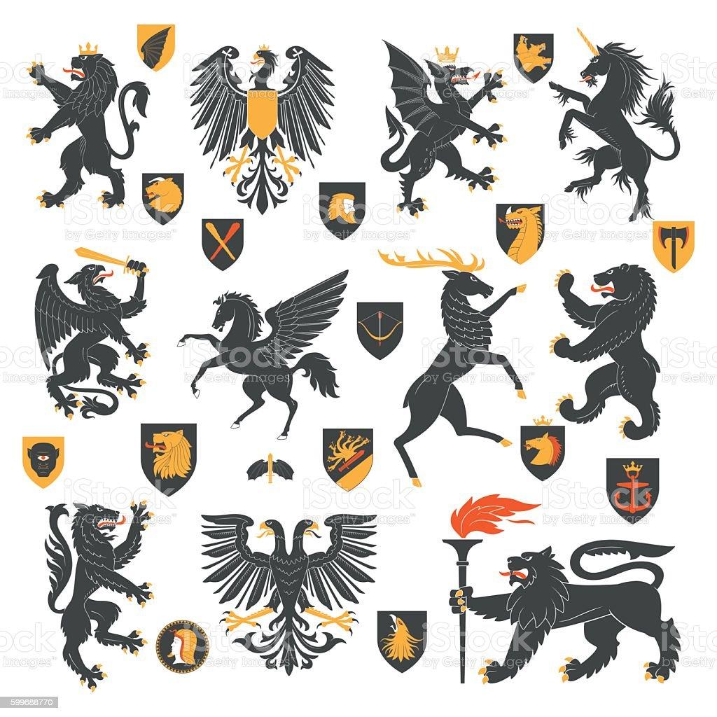Heraldic Animals And Elements vector art illustration
