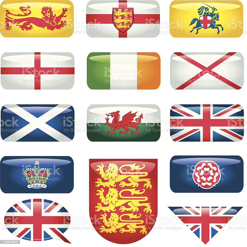 Heraldic Britain Rectangular-Flags royalty-free stock vector art