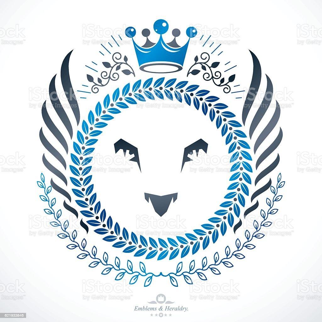 Heraldic Coat of Arms, vintage vector emblem. vector art illustration