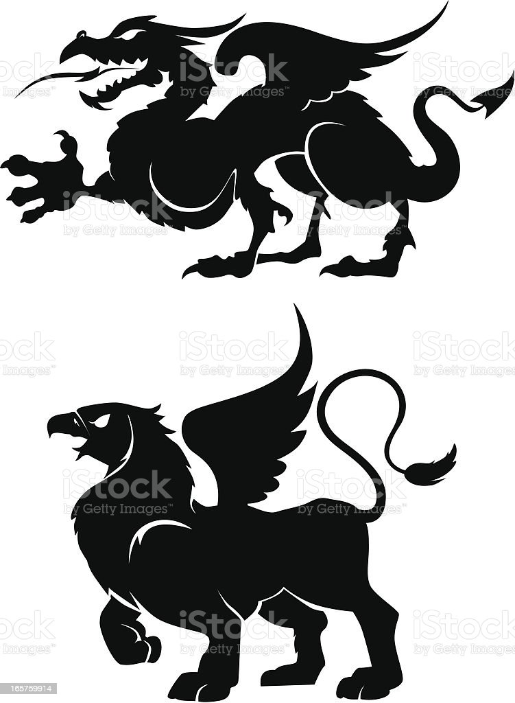 heraldic creatures royalty-free stock vector art