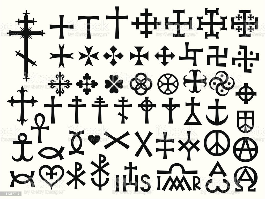 Heraldic Crosses and Christian Monograms vector art illustration