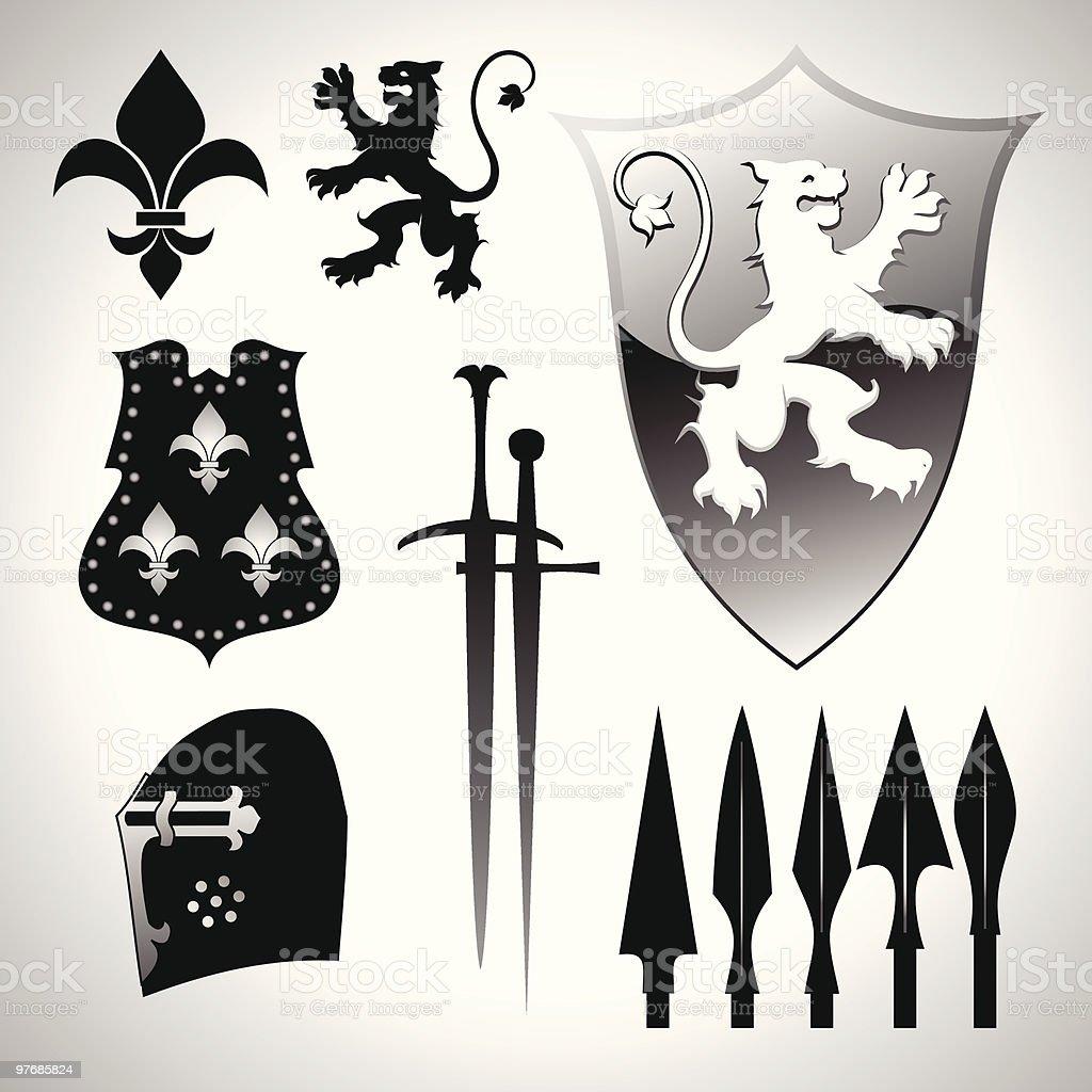 Heraldic design elements. royalty-free stock vector art