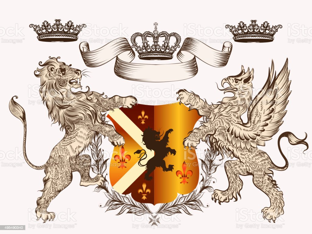 Heraldic design with coat of arms griffin, lion and crowns vector art illustration