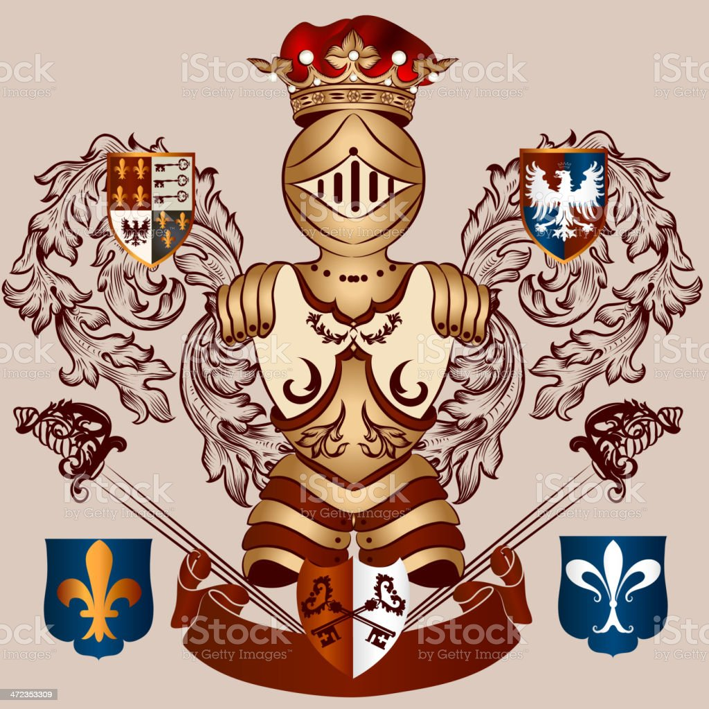 Heraldic design with coat of arms in vintage style royalty-free stock vector art