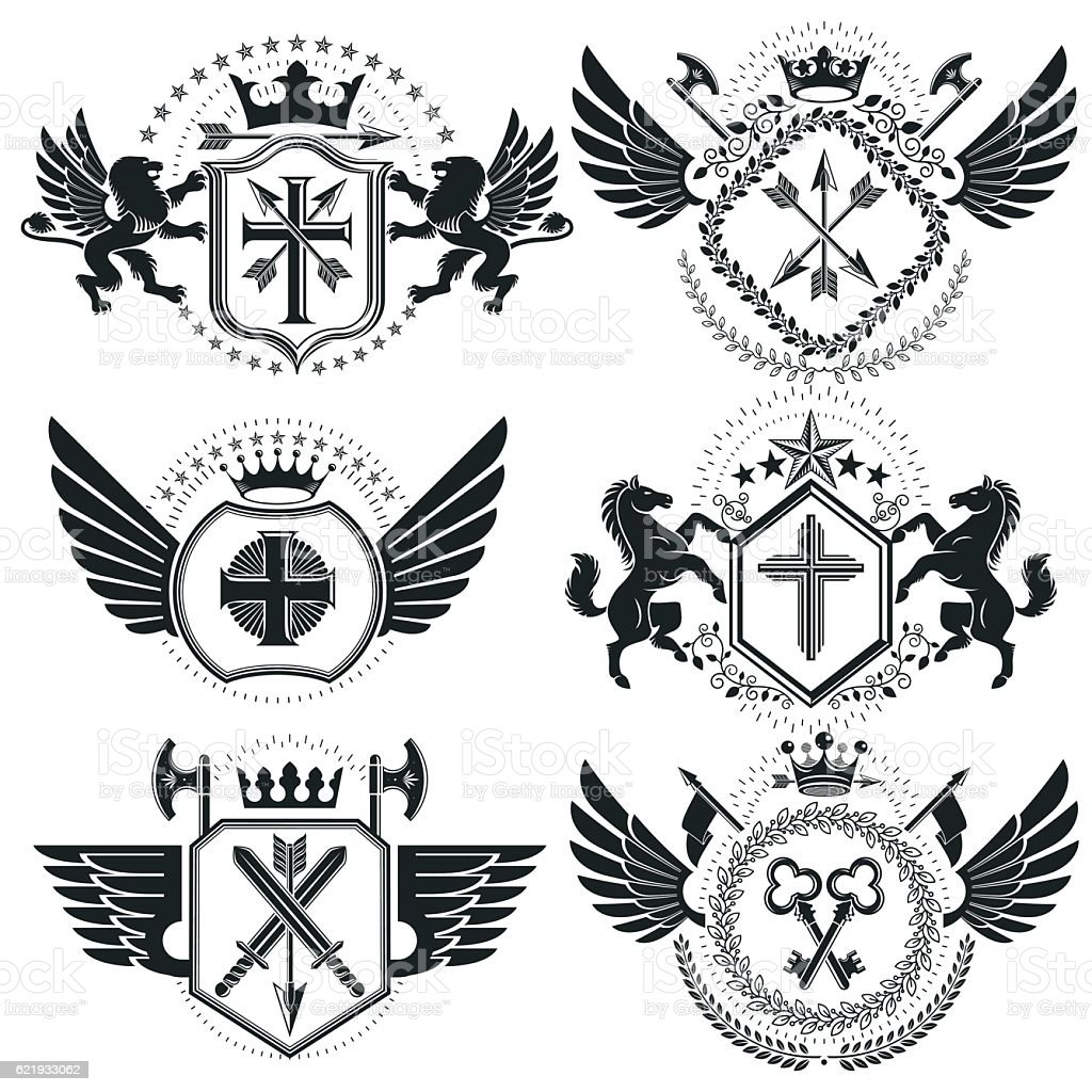 Heraldic designs, vector vintage emblems. Coat of Arms collection vector art illustration