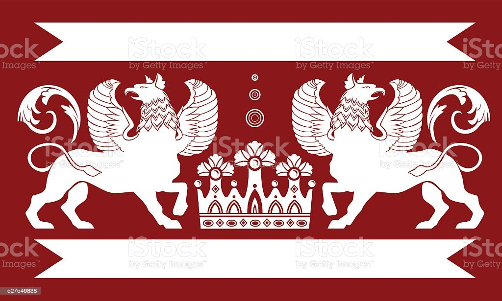 Heraldic Double Griffin vector art illustration