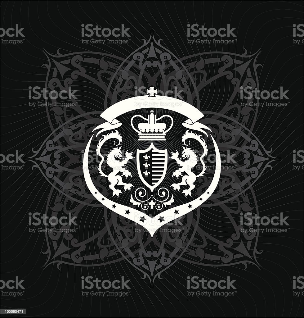 Heraldic Dragon Crest in black and white royalty-free stock vector art