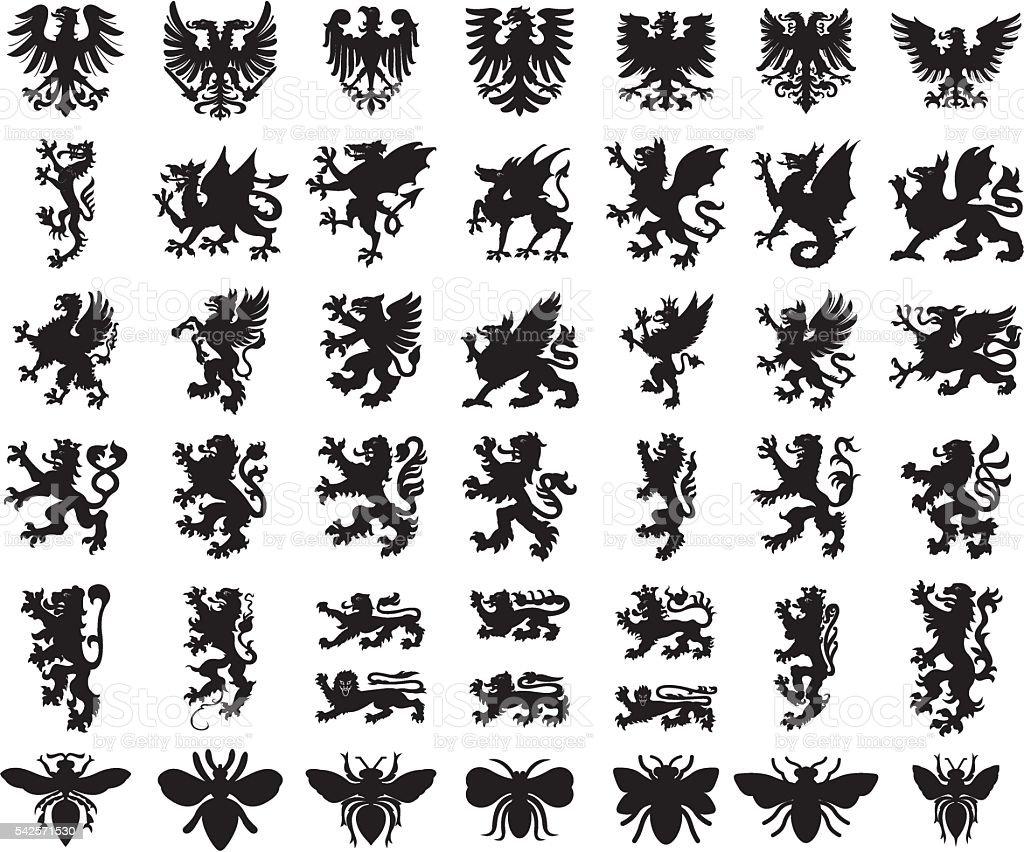 Heraldic elements animals set vector art illustration