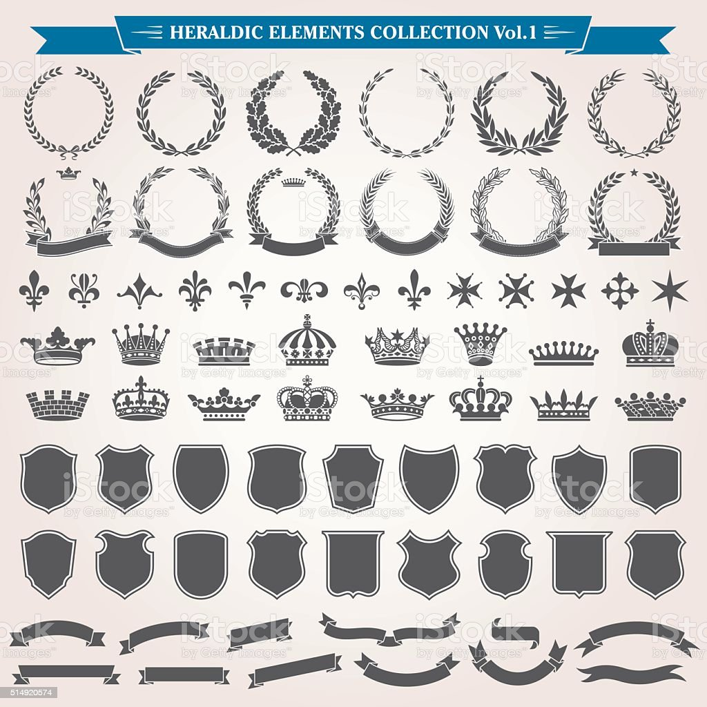 Heraldic Elements Set 1 vector art illustration