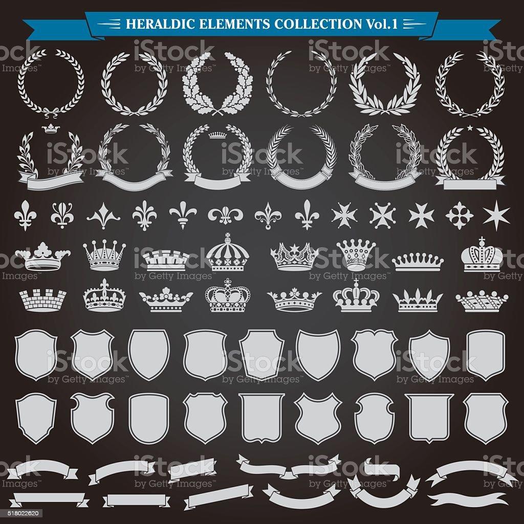 Heraldic Elements Set 1 vector art illustration