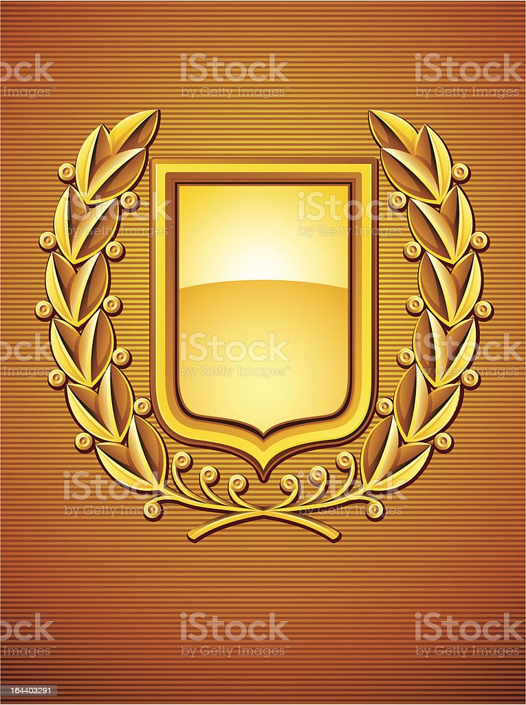 heraldic emblem with laurel wreath royalty-free stock vector art