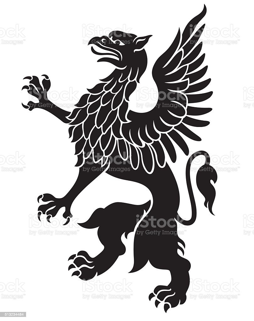 Heraldic griffin vector art illustration