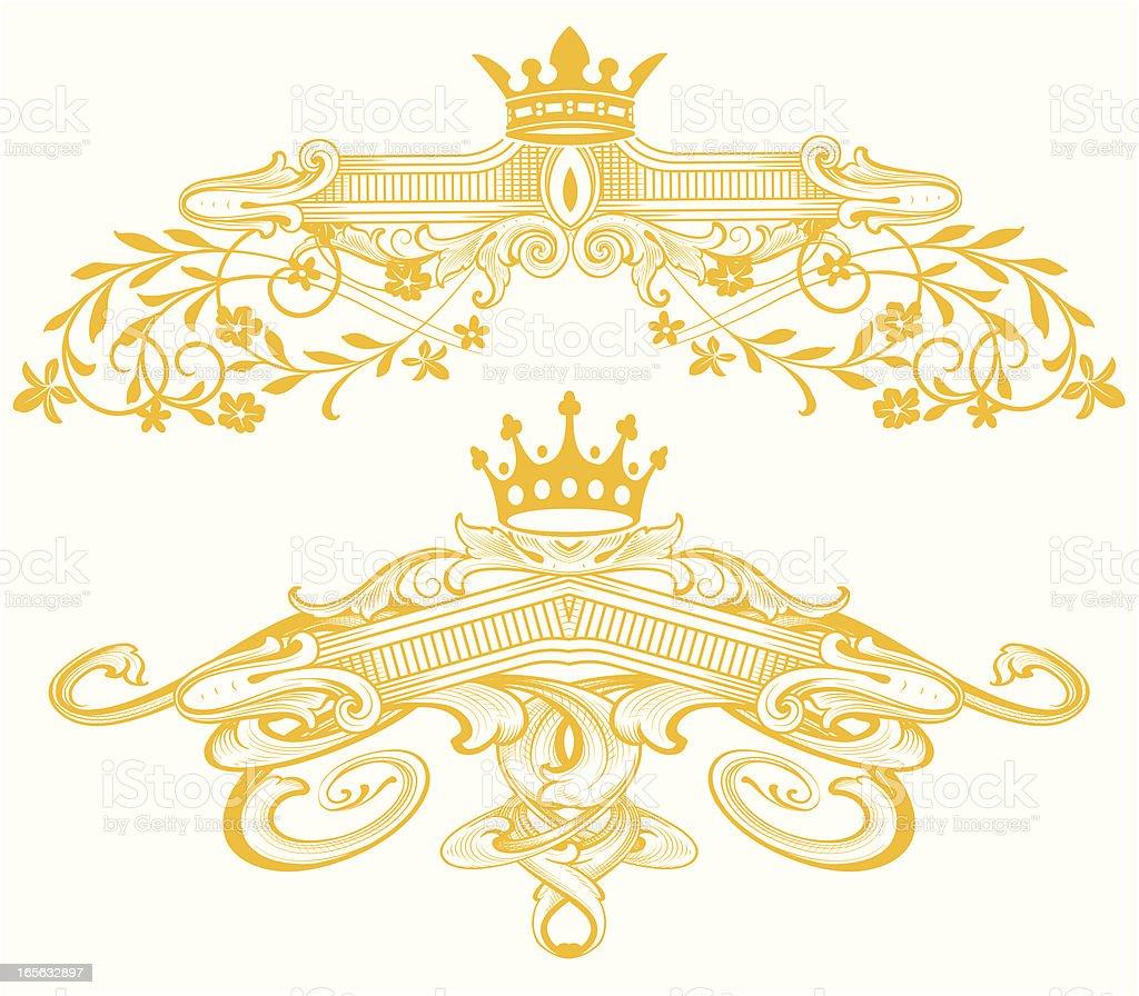 Heraldic Headers crown and flower scrollwork royalty-free stock vector art