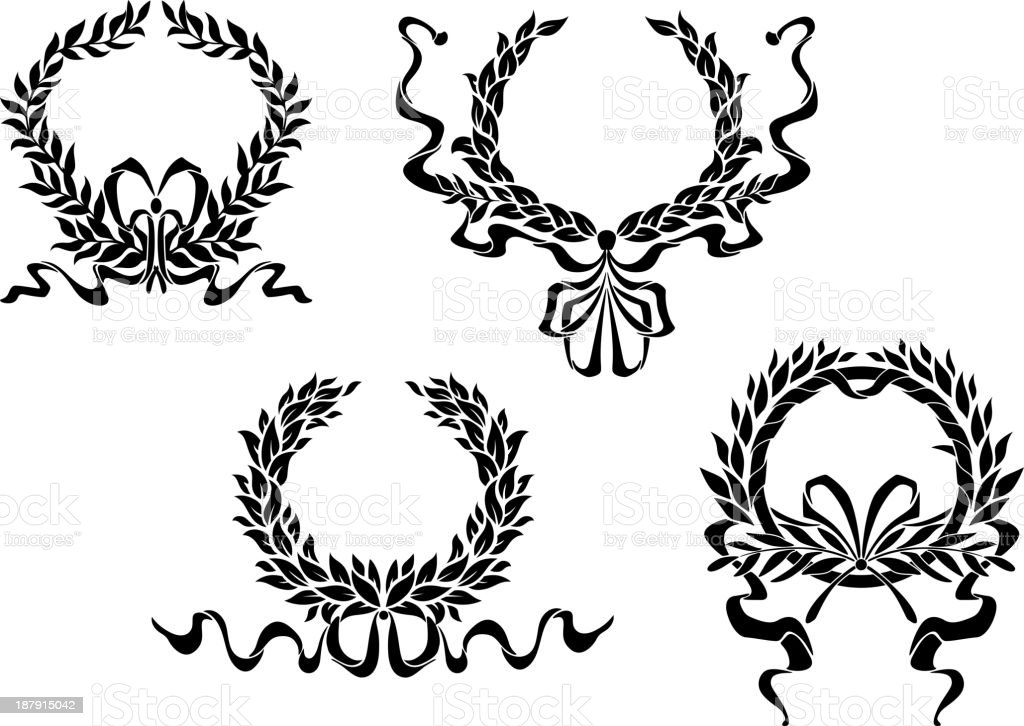 Heraldic laurel wreaths with ribbons royalty-free stock vector art