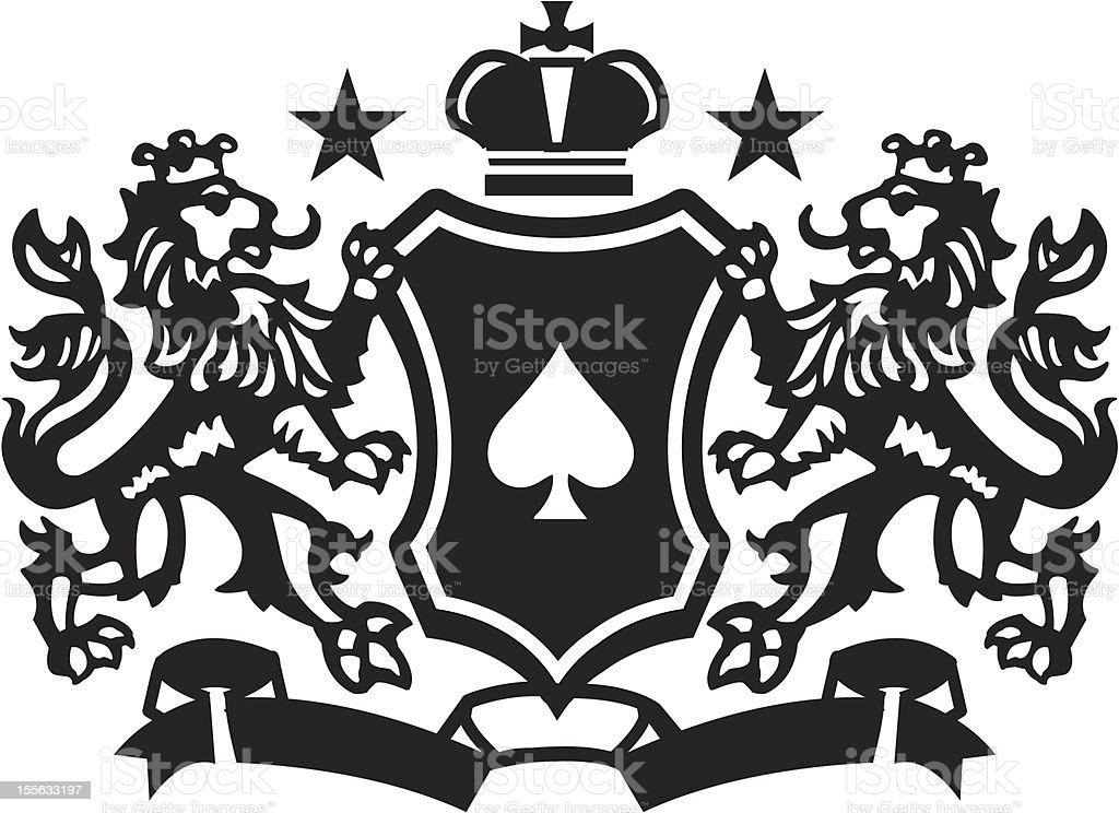 Heraldic Lion Crest 3 royalty-free stock vector art