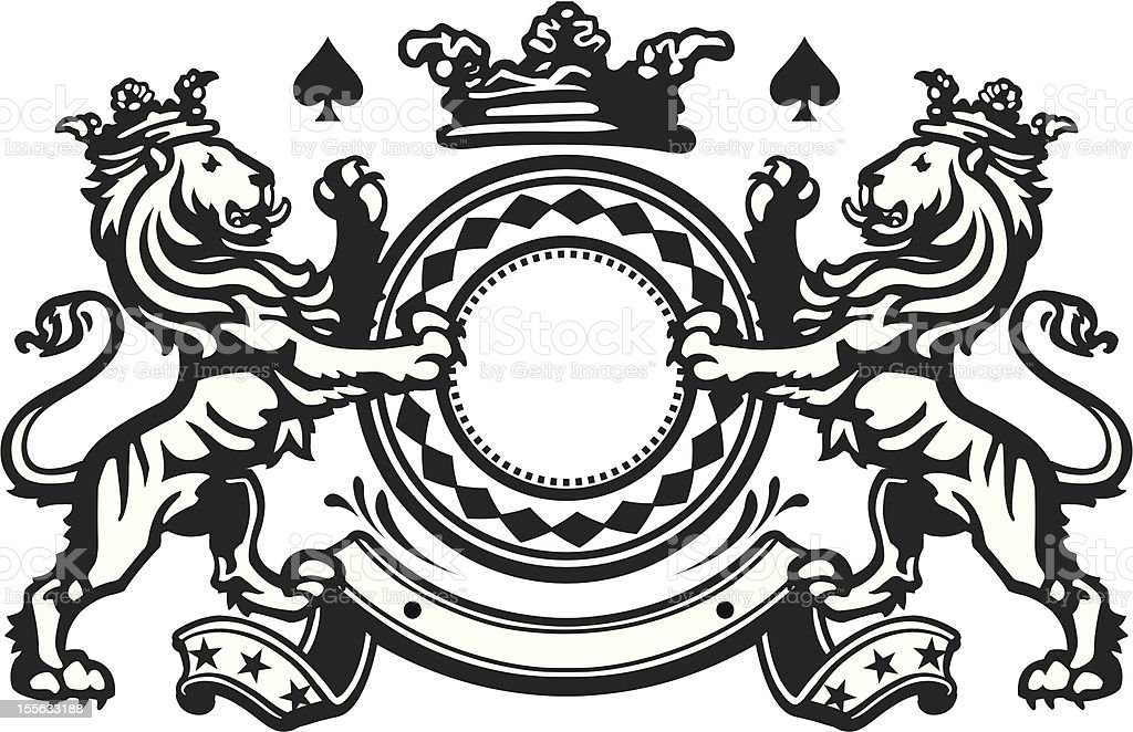 Heraldic Lion Crest 6 royalty-free stock vector art