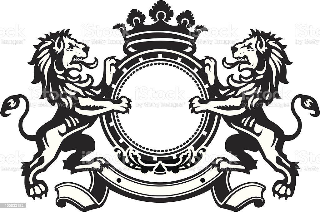 Heraldic Lion Crest 8 vector art illustration