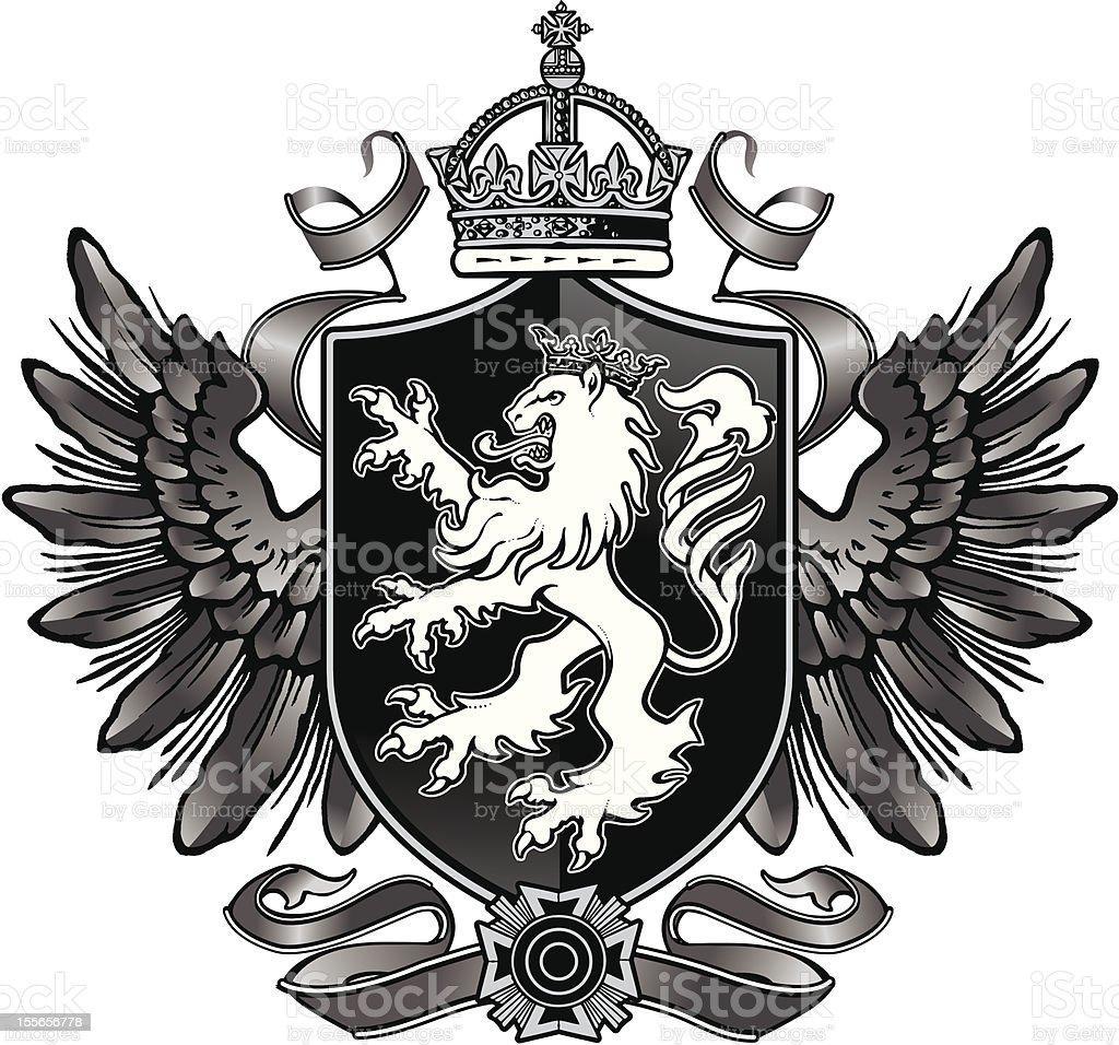 Heraldic Lion Wing Crest stock vector art 155656778 | iStock