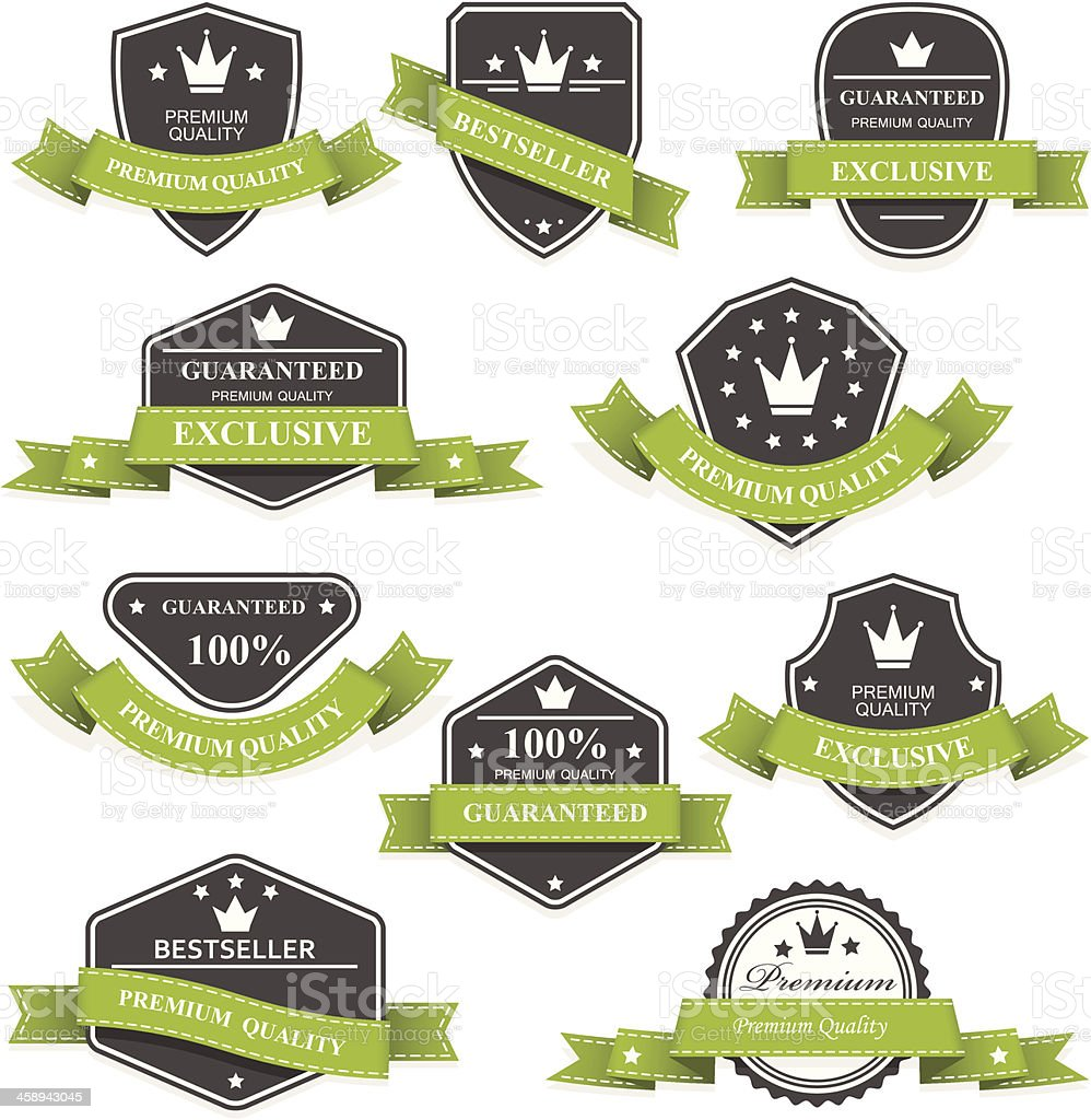Heraldic medals and emblems with ribbons vector art illustration