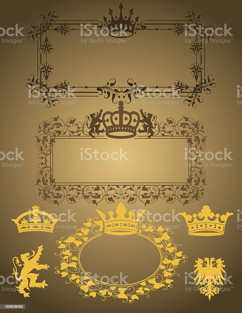 Heraldic Ornament Set vector art illustration