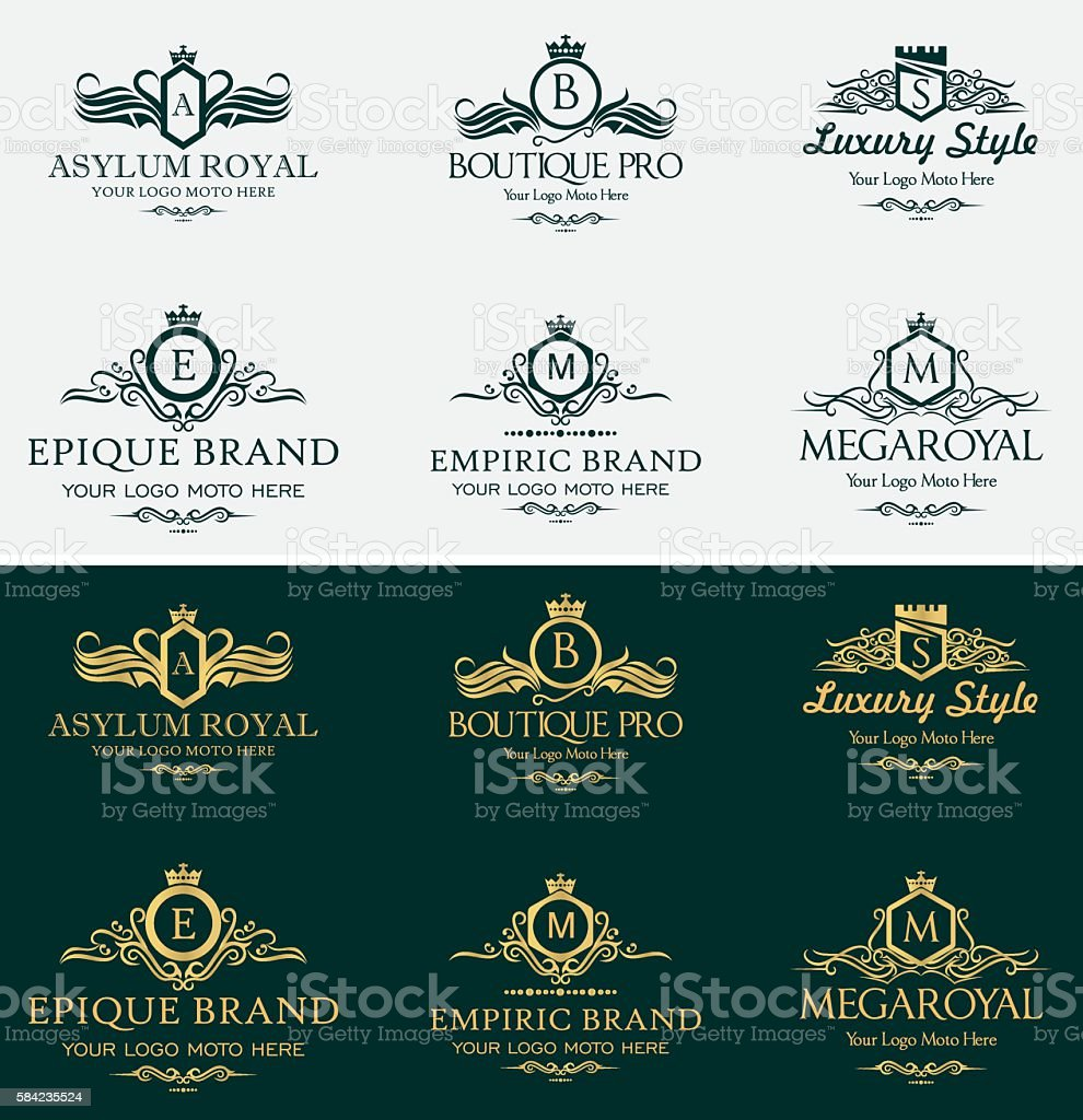 Heraldic Royal Luxurious Crest Logos Set vector art illustration