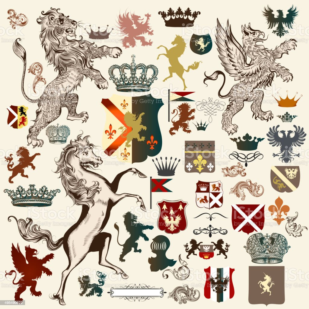 Heraldic set of vector design elements in vintage style vector art illustration