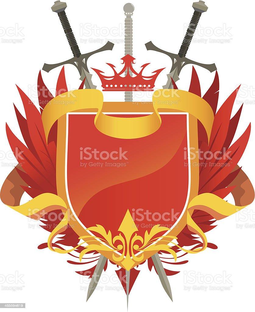 Heraldic Shield (Red) vector art illustration