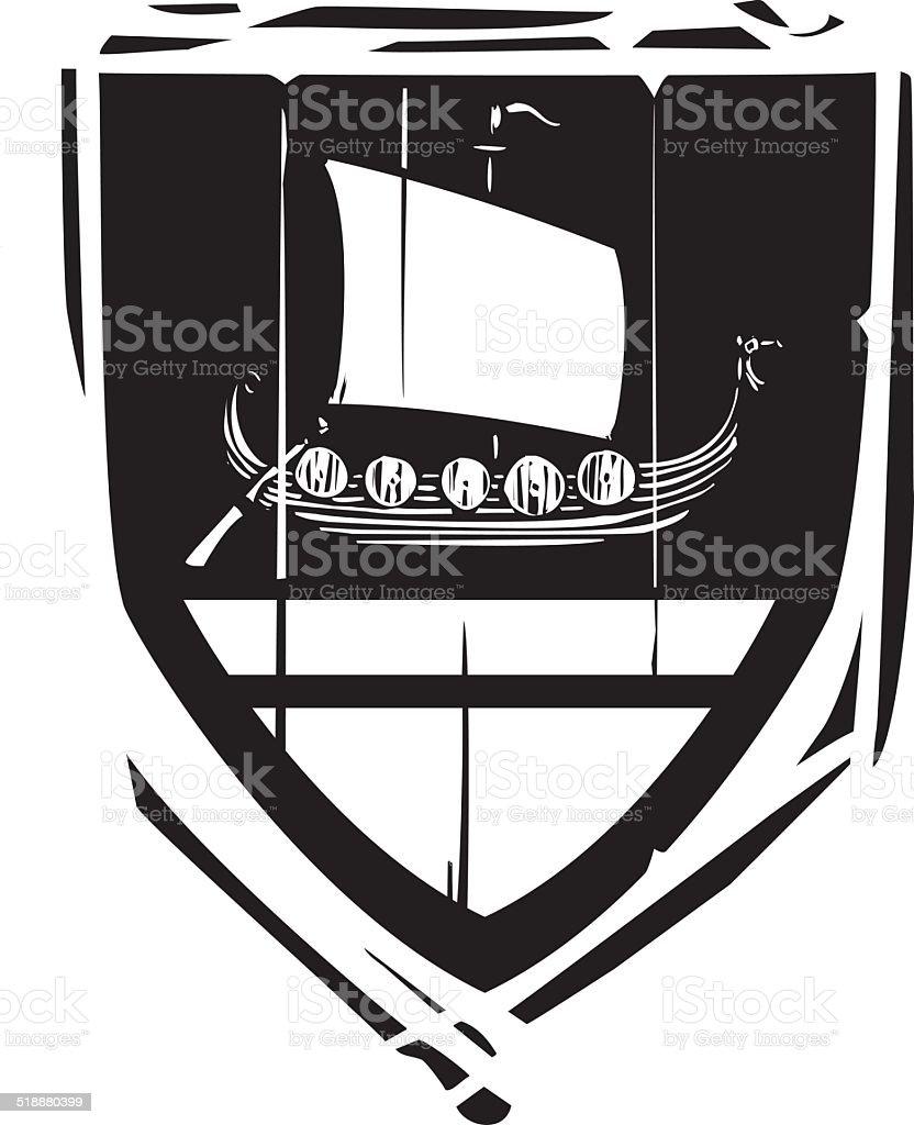 Heraldic Shield Viking Longship vector art illustration