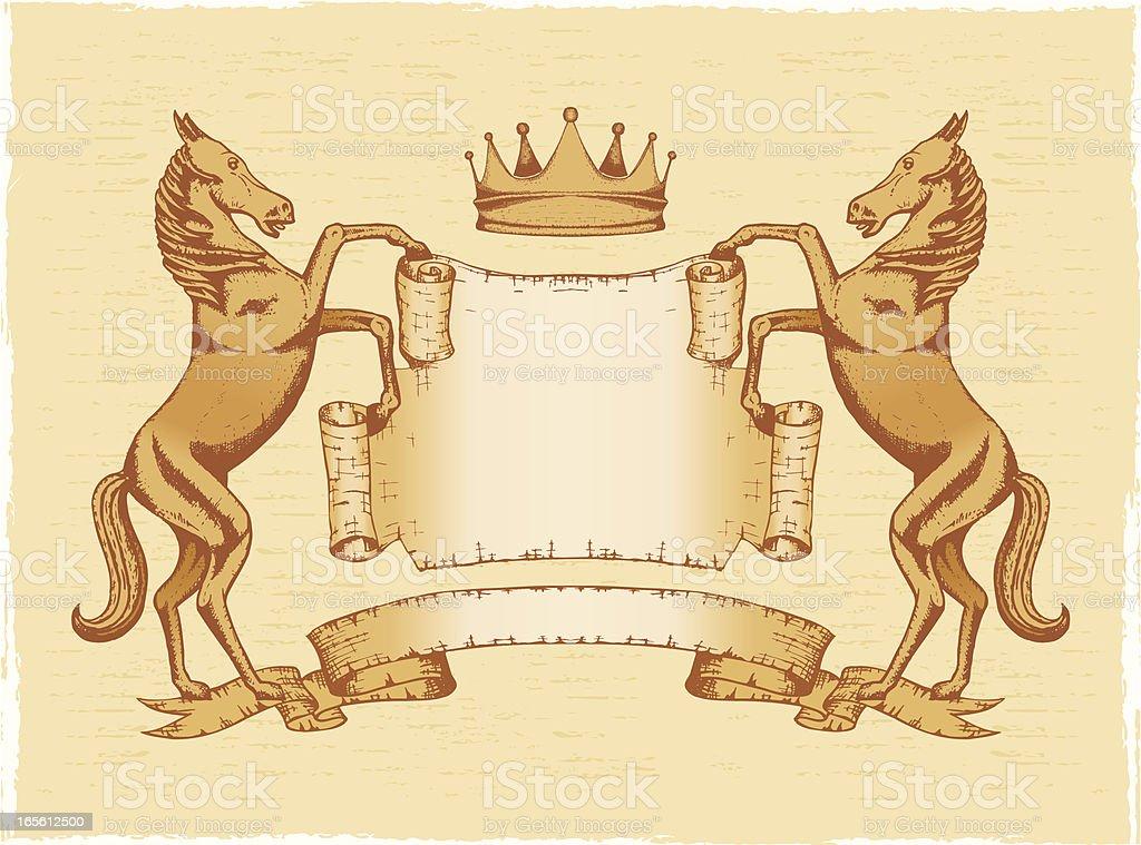 Heraldic shield_horse_crown royalty-free stock vector art