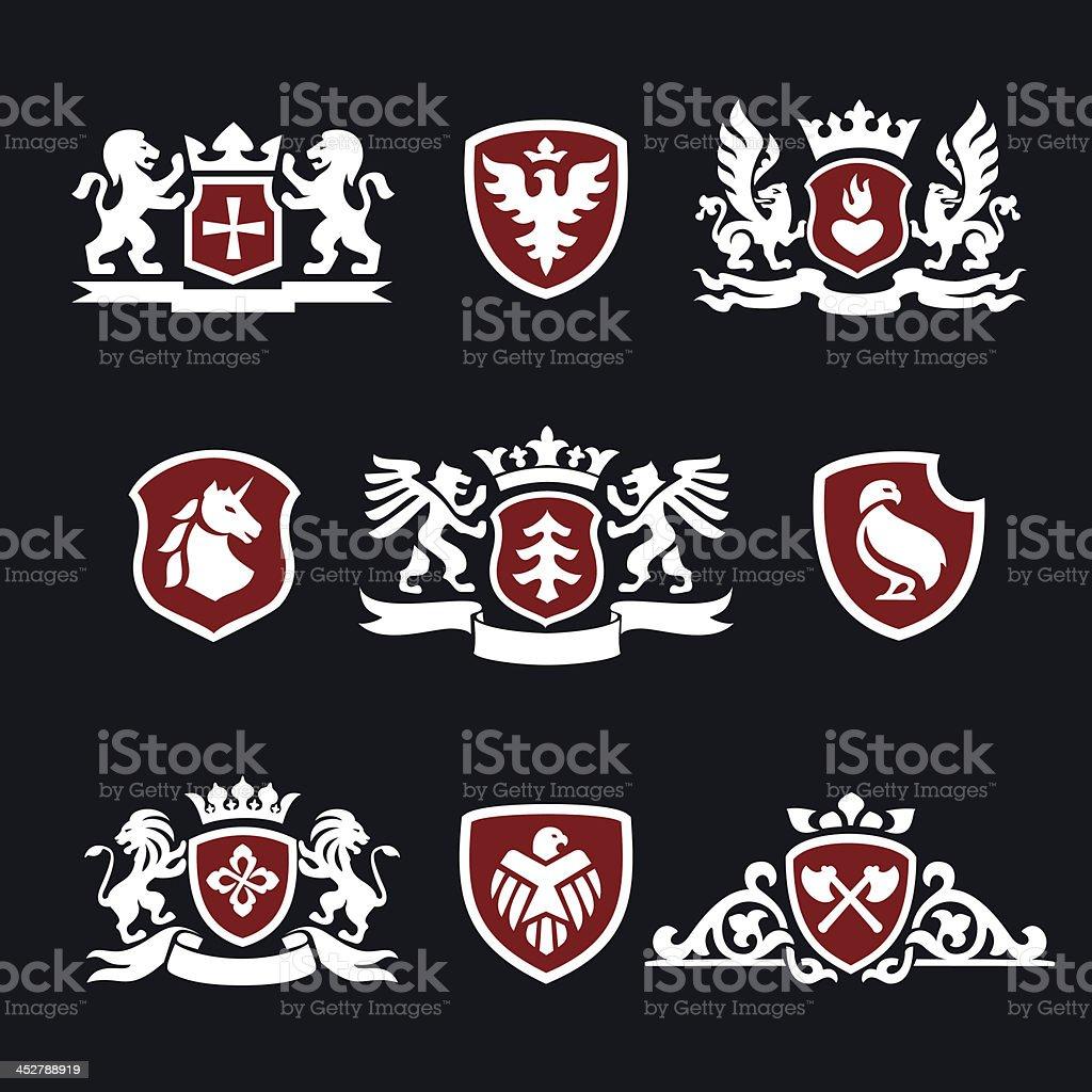 heraldic signs vector art illustration
