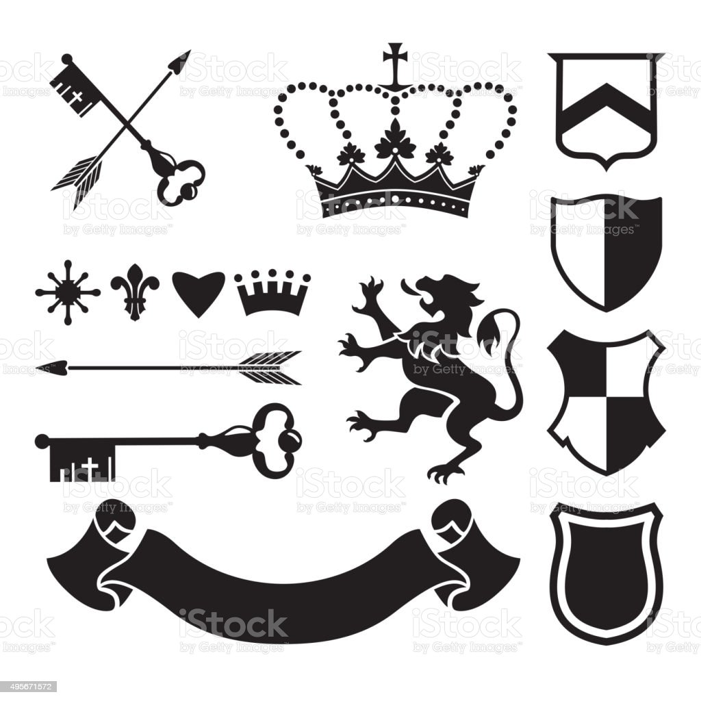 Heraldic silhouettes for signs and symbols vector art illustration