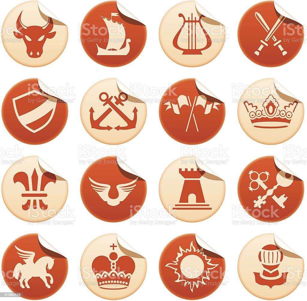 Heraldic stickers royalty-free stock vector art