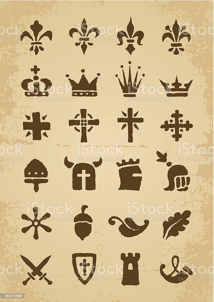 Heraldic symbols vector art illustration