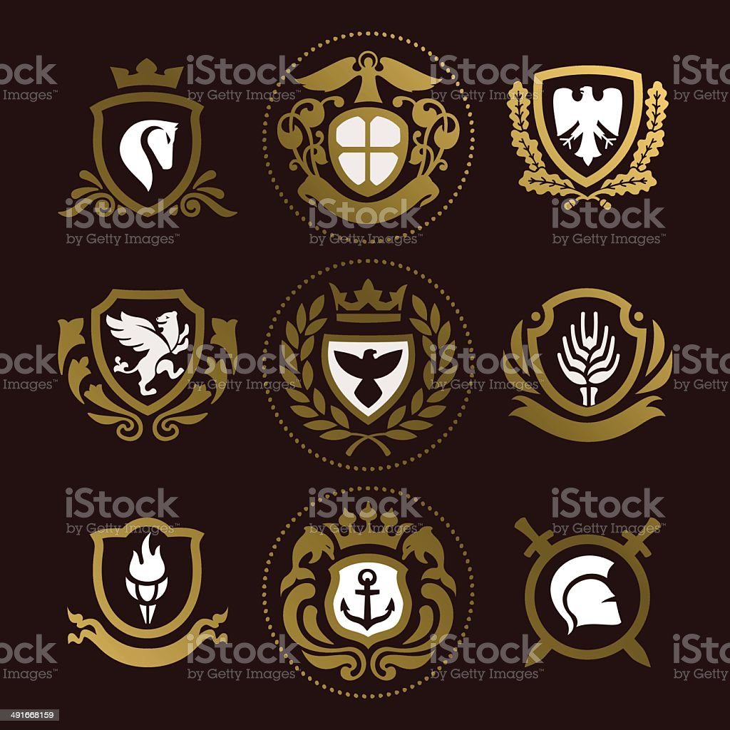 heraldic_shields vector art illustration