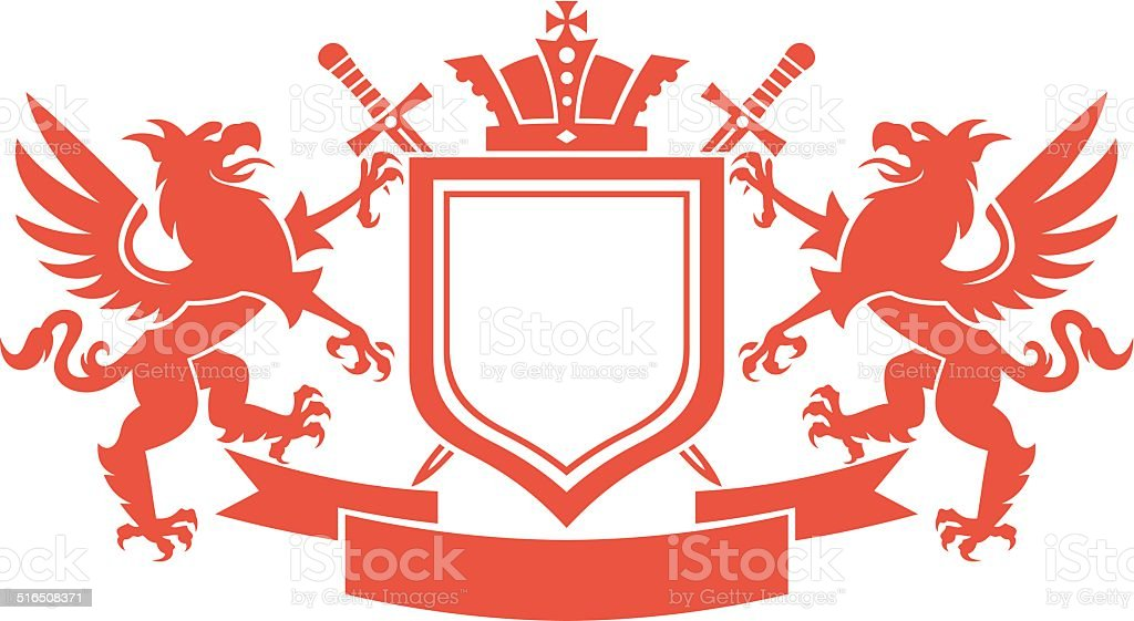 Heraldry crest, Coat of Arms vector art illustration