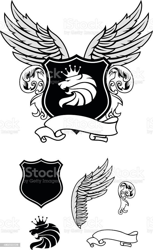 Heraldry design set vector art illustration