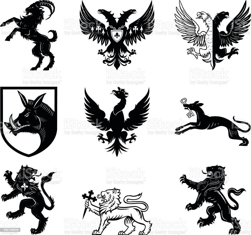Heraldry designs vector art illustration