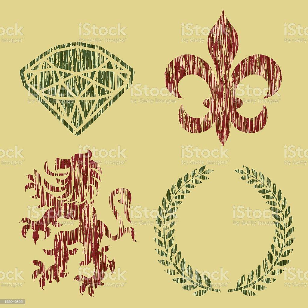 Heraldry - Distressed royalty-free stock vector art