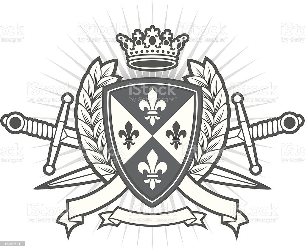 Heraldry Family Crest drawing with a white background royalty-free stock vector art
