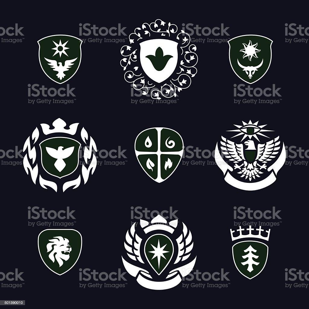 heraldry, insignia, signs, vector set vector art illustration