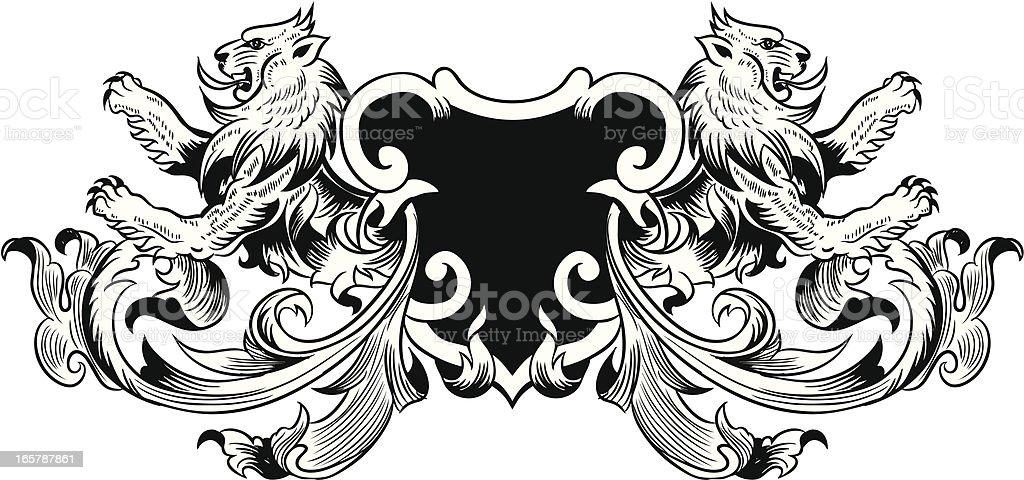 Heraldry lion vector art illustration