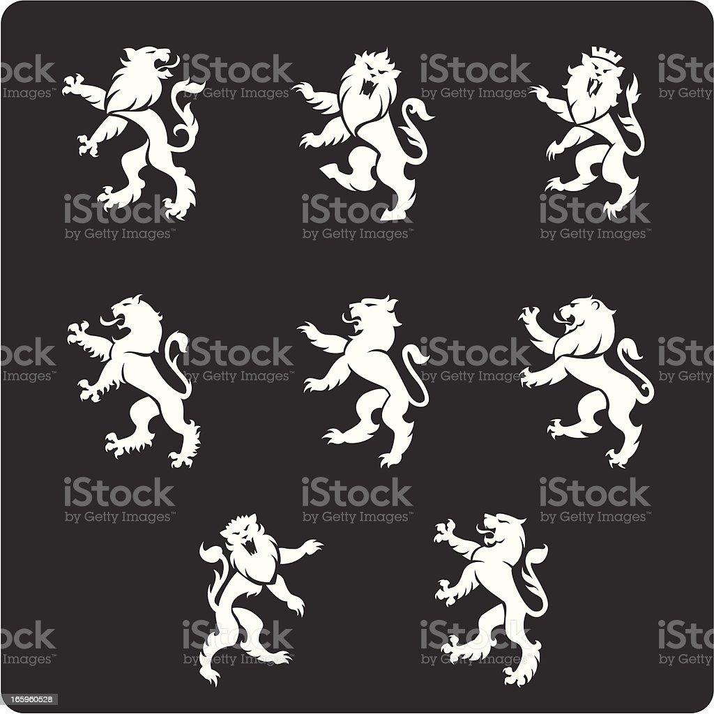 Heraldry Lions vector art illustration