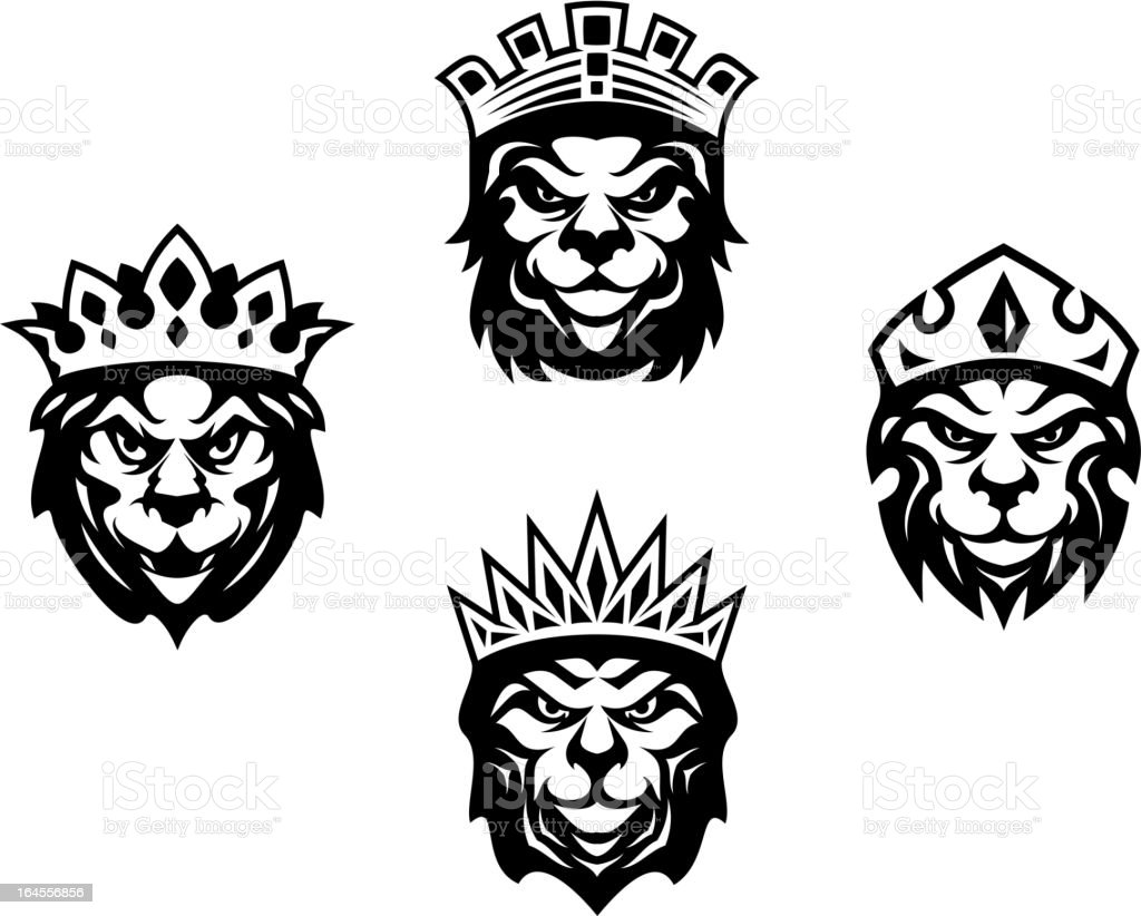 Heraldry lions with crowns royalty-free stock vector art