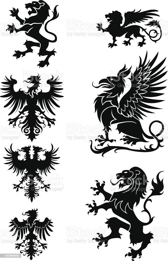 Heraldry ornament set vector art illustration