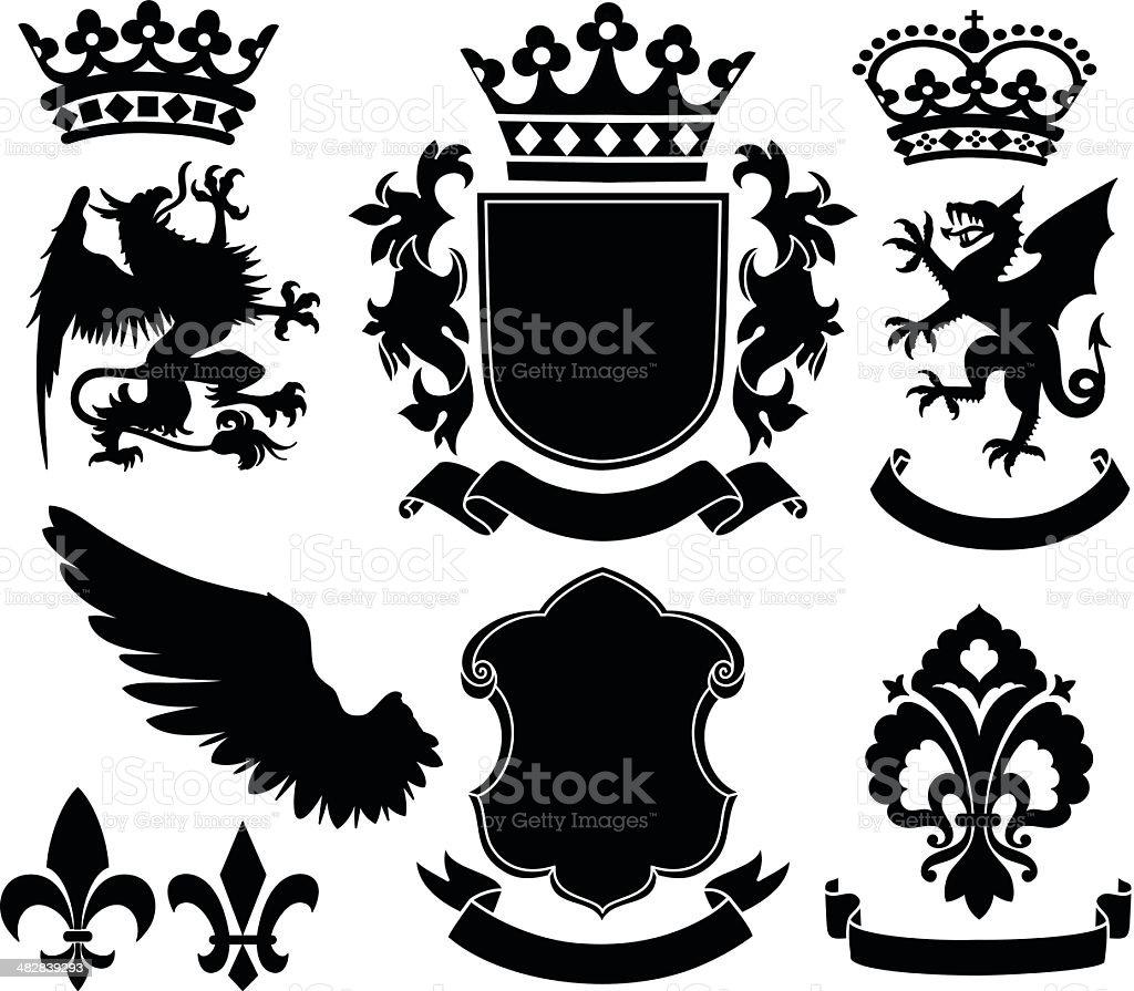 Heraldry Ornaments vector art illustration