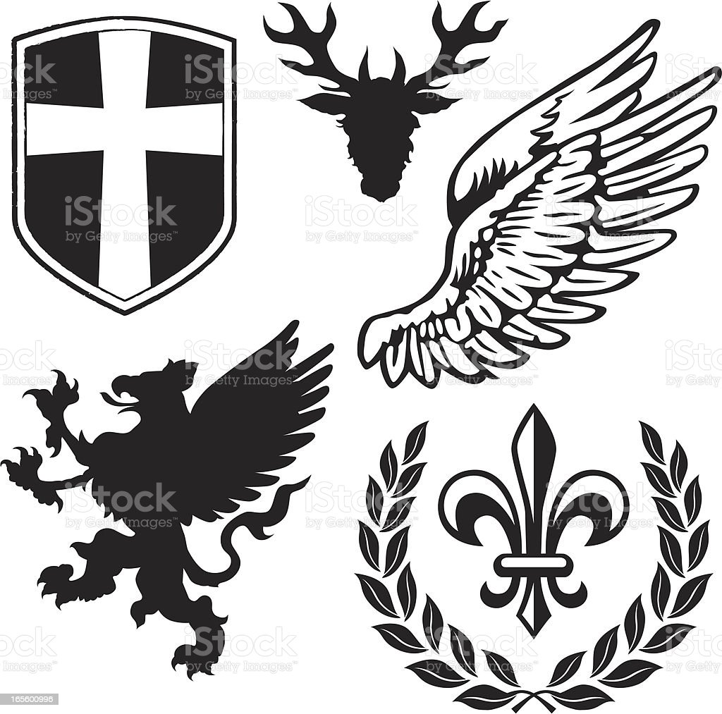 Heraldry Pack 1 with Griffin vector art illustration